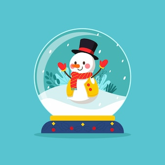 スマイリースノーマンとフラットデザインのクリスマススノーボールグローブ
