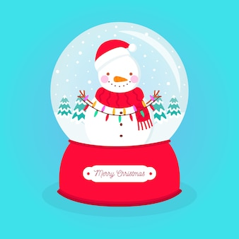 Flat design christmas snowball globe with snowman