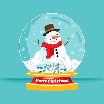雪だるまとフラットデザインのクリスマススノーボールグローブ