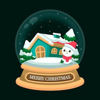 Flat design christmas snowball globe