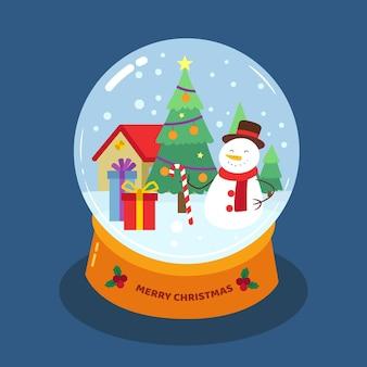 フラットデザインのクリスマススノーボールグローブ