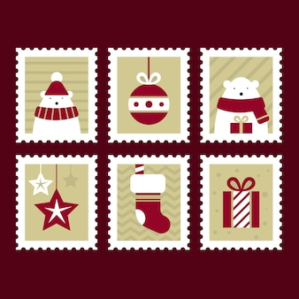 Flat design christmas stamp collection