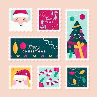 Плоский дизайн рождественской коллекции марок