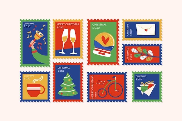 フラットデザインのクリスマス切手コレクション
