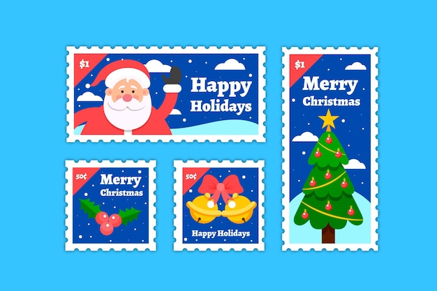 평면 디자인 크리스마스 우표 수집