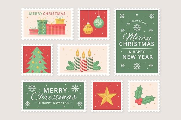 Set di francobolli natalizi design piatto