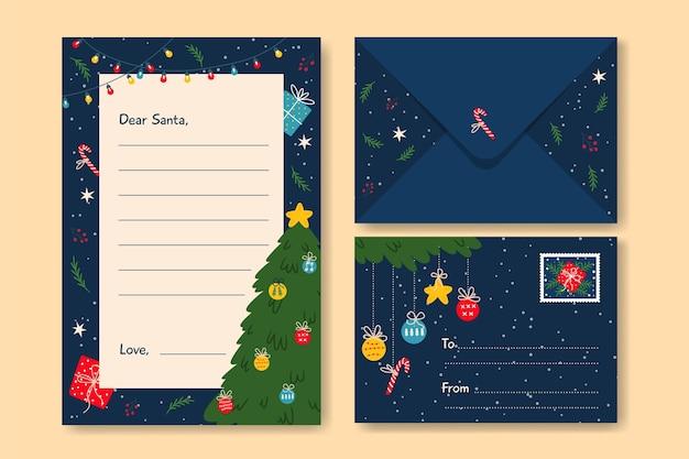 Плоский дизайн рождественской коллекции шаблонов канцелярских товаров
