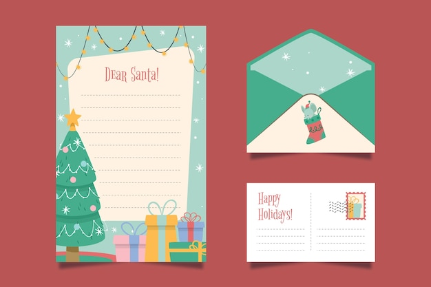 Flat design christmas stationery template pack