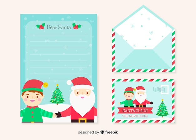 Flat design of christmas stationery template