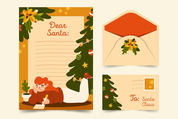 Flat design christmas stationery template