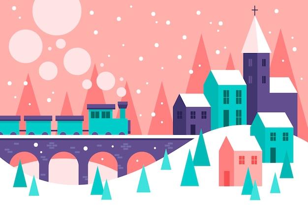 フラットなデザインのクリスマスの町と電車のイラスト