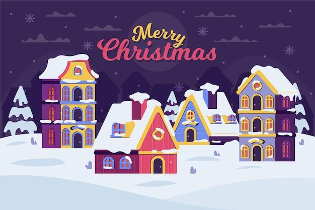 Рождественский городок в плоском дизайне ночью
