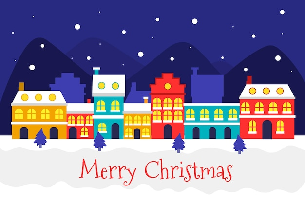 Flat design christmas town background