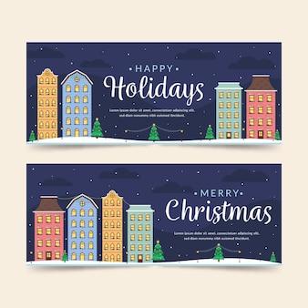 Плоский дизайн рождественского городка баннеры шаблон