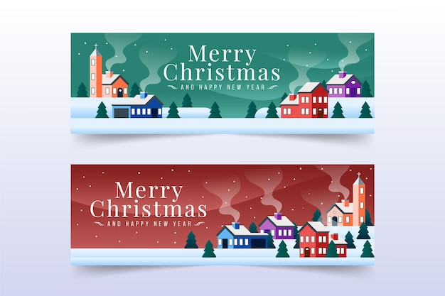 フラットデザインのクリスマスタウンバナーテンプレート