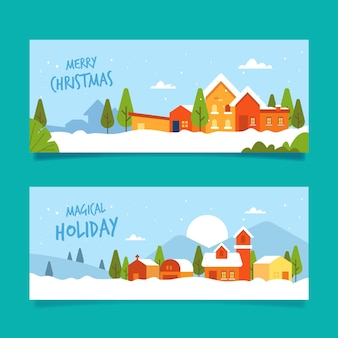 Flat design christmas town banners template