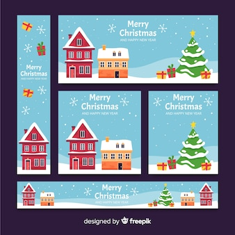 Flat  design christmas town banners