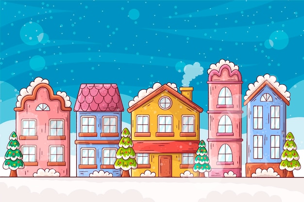 Flat design christmas town illustrated