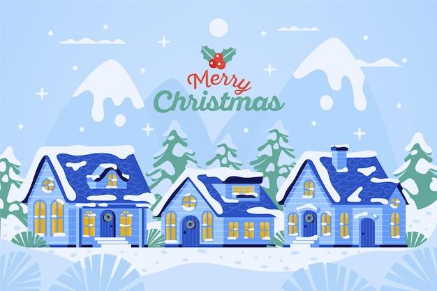 Плоский дизайн рождественский городок иллюстрации ночью