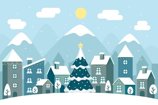日光の下でフラットなデザインのクリスマスの町