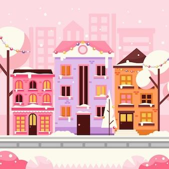 Città natale design piatto nella neve