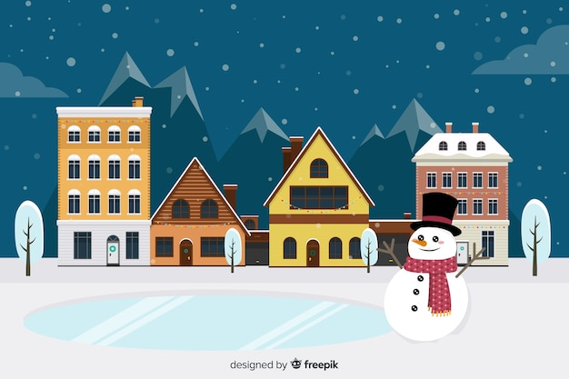 Flat design christmas town wallpaper