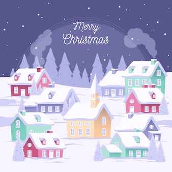 Flat design christmas town wallpaper