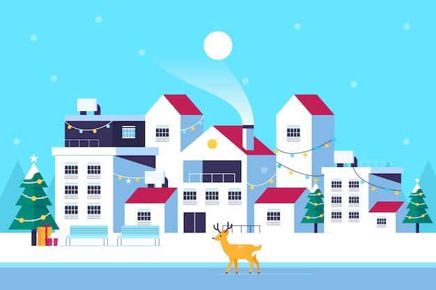 평면 디자인 크리스마스 마을