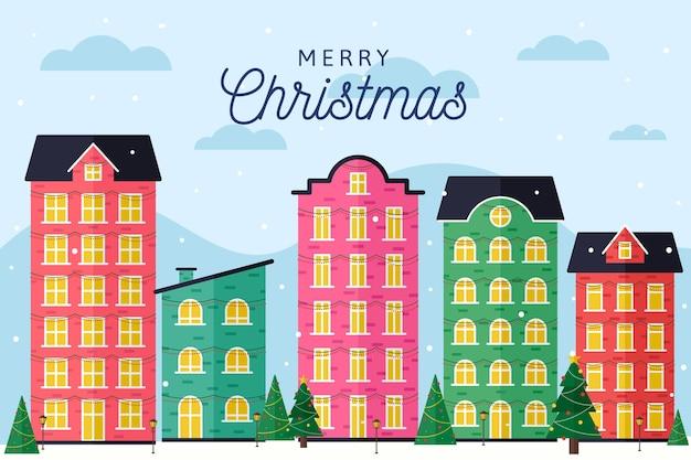 フラットデザインのクリスマスタウン