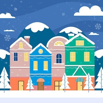 Рождественский городок в плоском дизайне