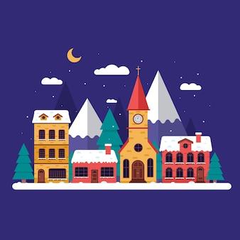 Flat design christmas town
