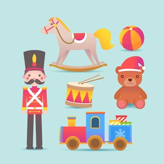 Flat design christmas toy collection
