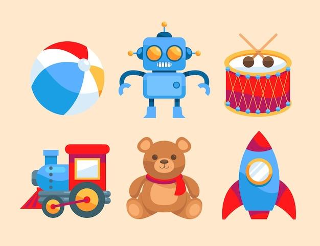 Collezione di giocattoli natalizi design piatto
