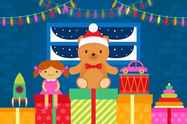 Flat design christmas toys background