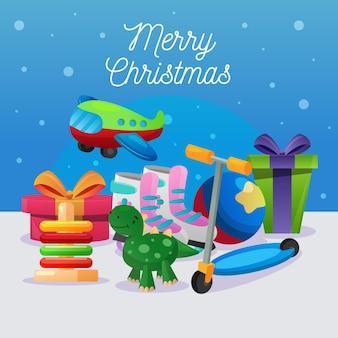 Рождественский фон с елочными игрушками