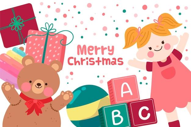 Рождественские игрушки фон в плоском дизайне