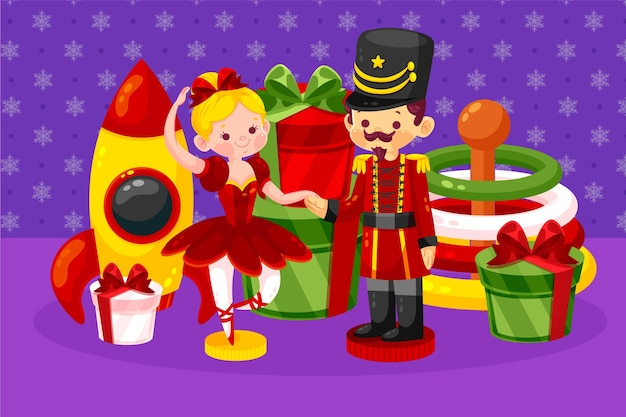 Flat design christmas toys background