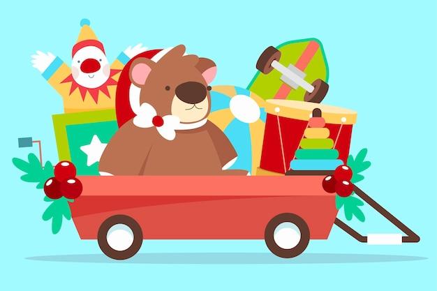 Коллекция рождественских игрушек в плоском дизайне