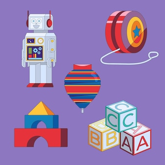 Flat design christmas toys collection