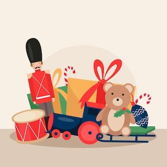 Flat design christmas toys wallpaper