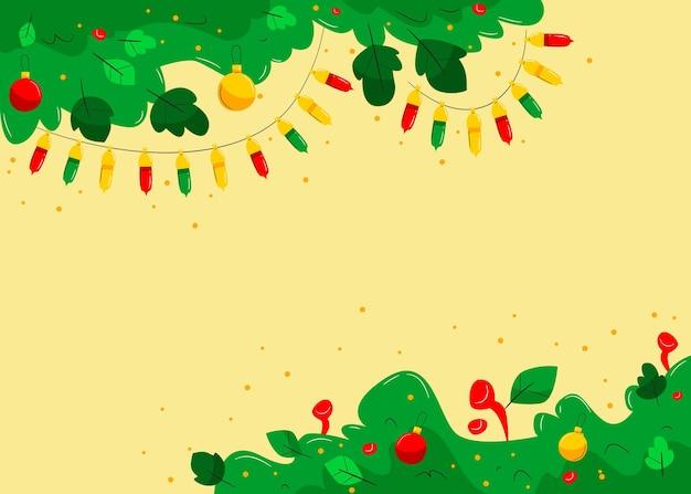 평면 디자인 크리스마스 트리 분기 배경