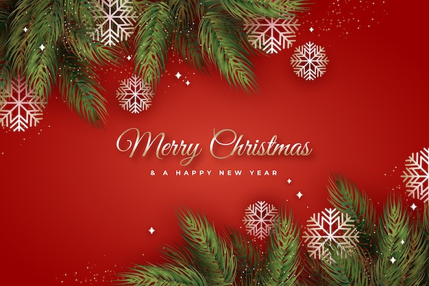 Flat design christmas tree branches background
