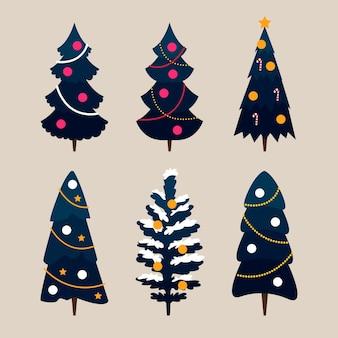 평면 디자인 크리스마스 트리 컬렉션
