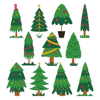 Collezione di alberi di natale design piatto