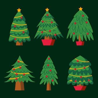Коллекция рождественских елок в плоском дизайне