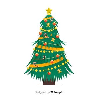 Flat design christmas tree concept
