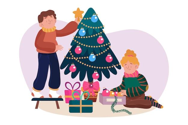 フラットなデザインのクリスマスツリーの装飾シーン