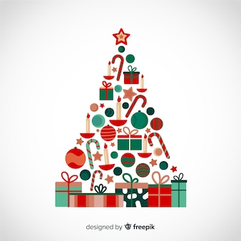 Flat design christmas tree made from gift boxes