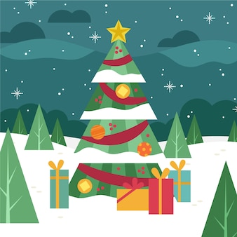 Flat design christmas tree wallpaper