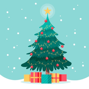 Flat design christmas tree with gifts